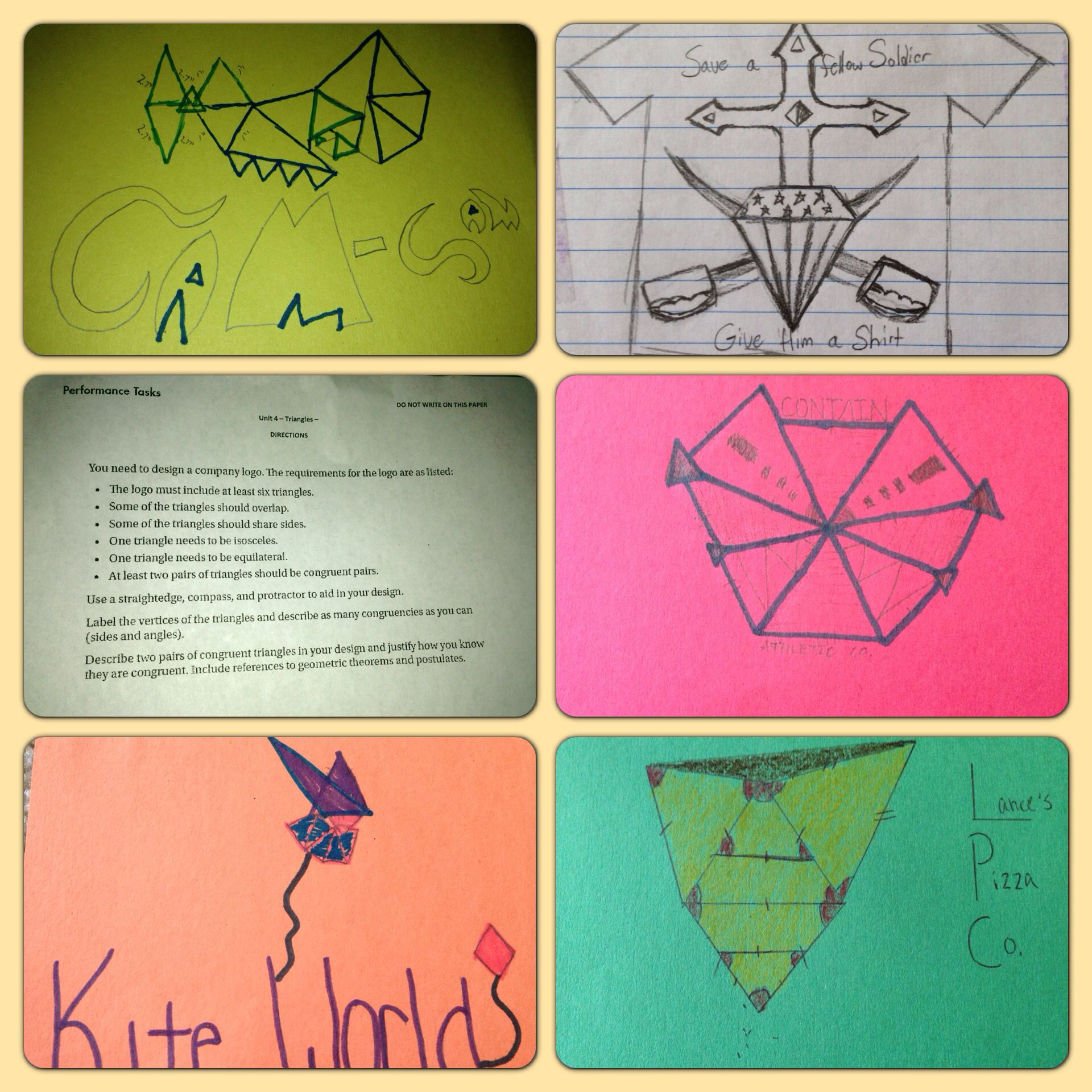 Triangle Performance Task For Geometry