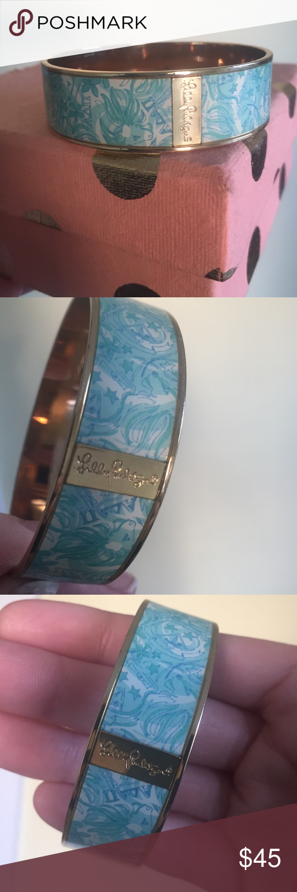 Lilly Pulitzer ADPi bangle SOLD OUT on the Lilly website! Lilly Pulitzer bangle w/ gold on the inside and Alpha Delta Pi print on the outside. I've never worn this but it was passed down to me from one other sister, and there are a couple tiny scratches on the inside gold part. Nothing noticeable or major, just thought I'd mention it. Lilly Pulitzer Jewelry Bracelets