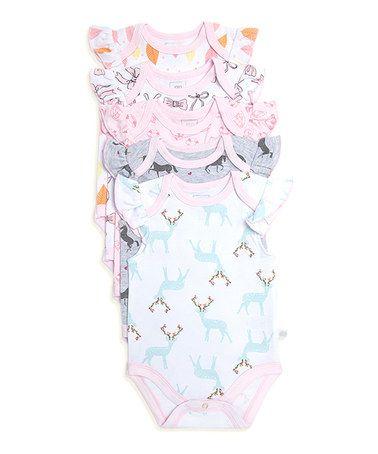Look what I found on #zulily! White & Pink Bodysuit Set #zulilyfinds