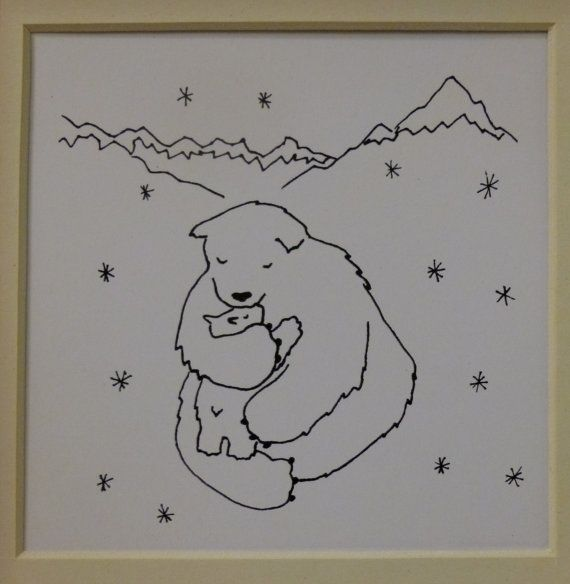 Cozy in Love  Mama and Baby Bear in the snow by SarahAtlasDesigns, $25.00