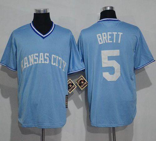 brand new e5c84 21b54 Royals #5 George Brett Light Blue Cooperstown Stitched MLB ...