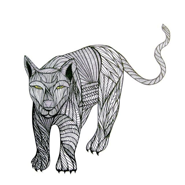 Line Art Drawings Of Animals : Totem puma art animal line drawing by thailan when free
