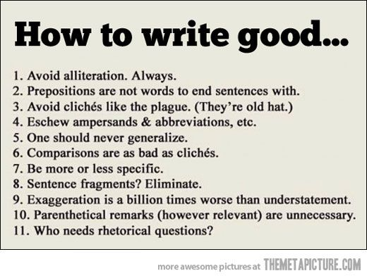 Important Writing Tips Grammar Humor Cool Writing Words