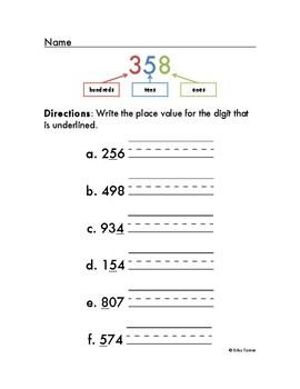 place value worksheet 3 digit with reference key teaching awesomeness place value. Black Bedroom Furniture Sets. Home Design Ideas