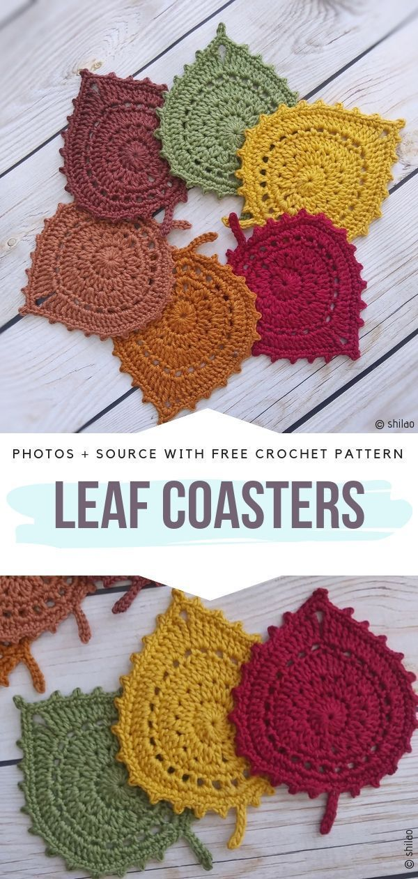 Leaf Coasters Free Crochet Pattern This is a perfect autumn decoration. These little Leaf Coasters will look amazing both on a wooden table, and as an applique on your poncho or a bag! You can make a garland using them, too. Go for typical autumnal colours, such as burgundy, mustard, browns and sage green, or try something more energetic! They are fast and easy to make. #crochetcoasters #crochetleaf #crochetforfall