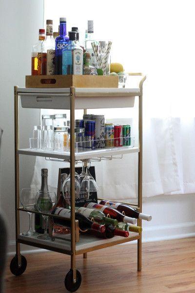 Eine Low Budget Minibar Fur Deine Wohnung Bar Bar Cart Ikea Bar