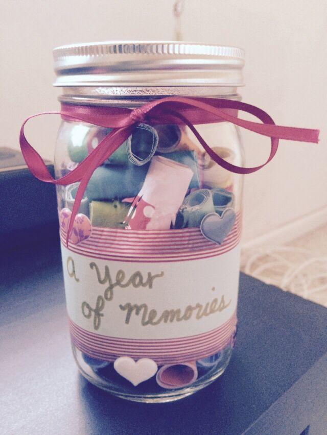 One Year Anniversary Memory Jar Gift Boyfriend One Year Gift One Year Anniversary Gifts Memory Jar