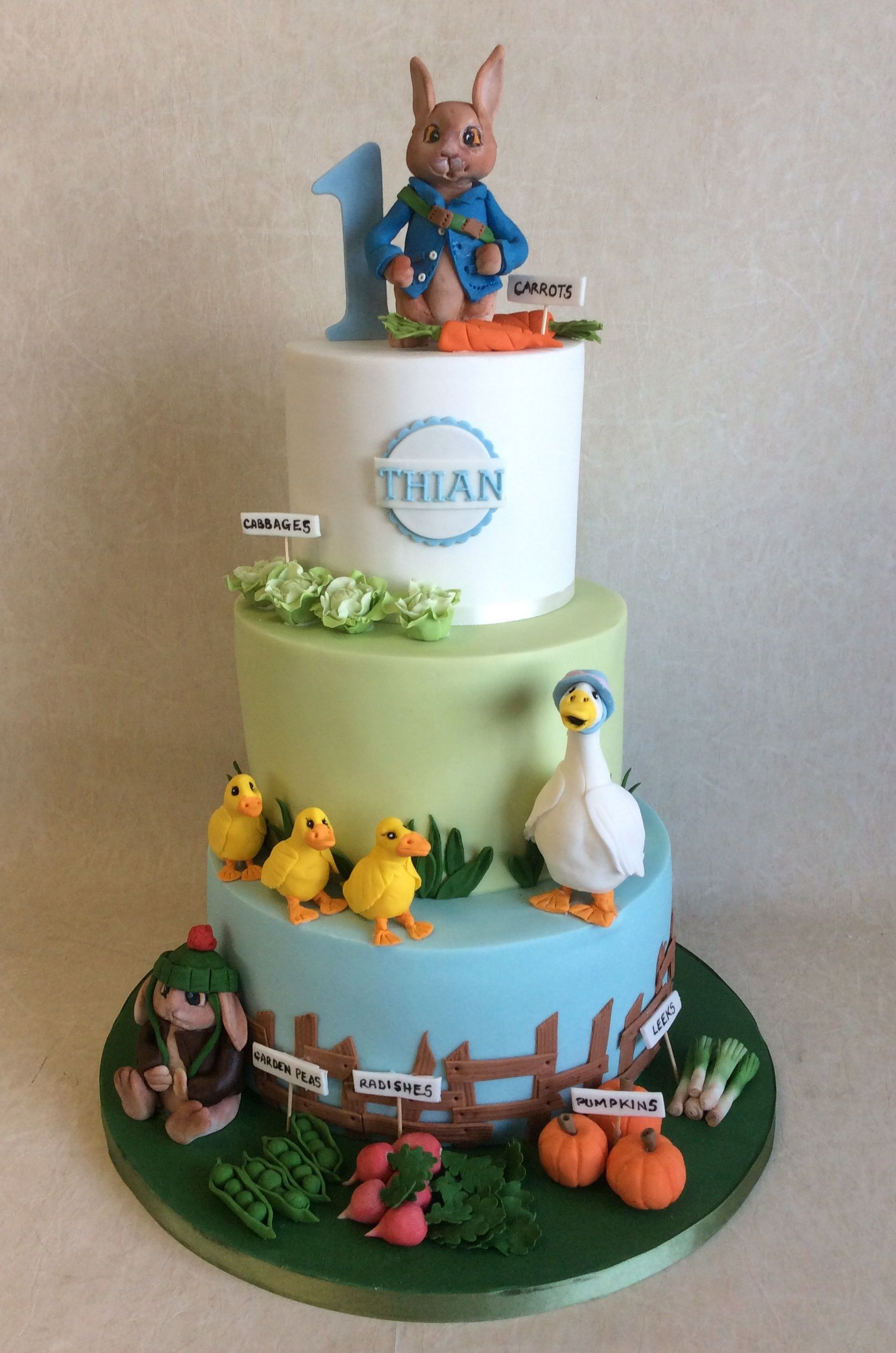 3 Tier Peter Rabbit Friends Themed 1st Birthday Cake Characters