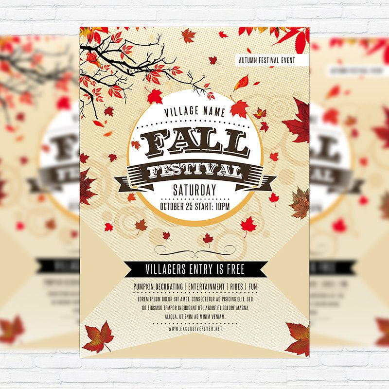 The Fall Festival Vol2 is the exclusive Photoshop PSD flyer - fall flyer