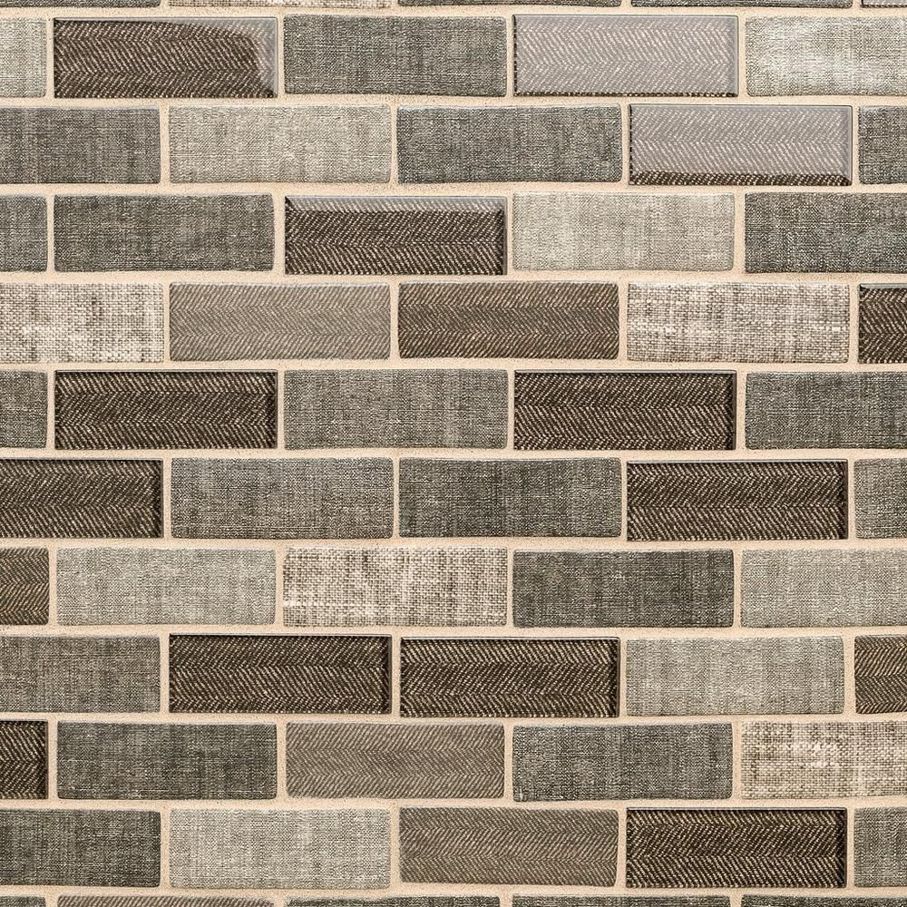 Chestnut Tweed 1 X 3 Brick Recycled Glass Mosaic Mosaic Glass Mosaic Flooring Recycled Glass