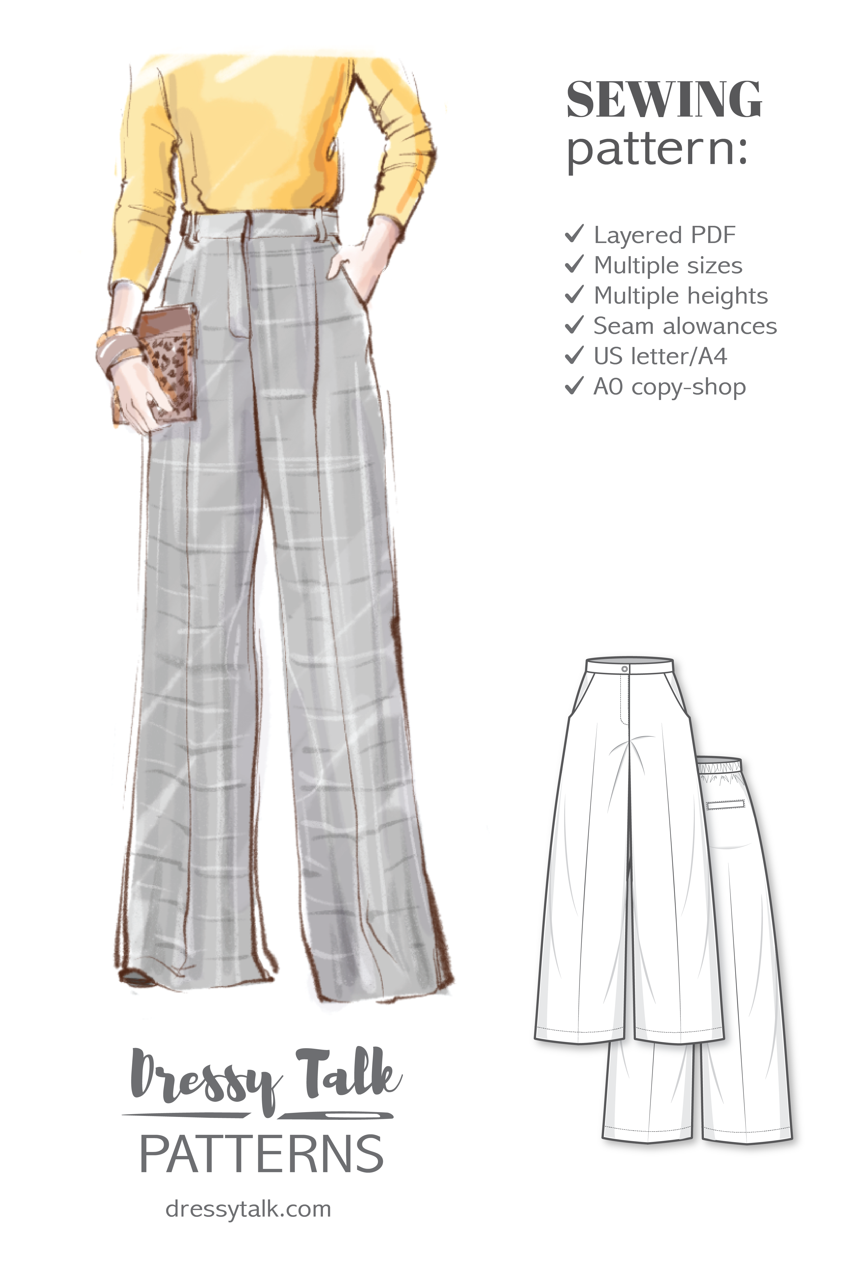 Pants Sewing Pattern Ladies Formal Trousers Pattern Flare