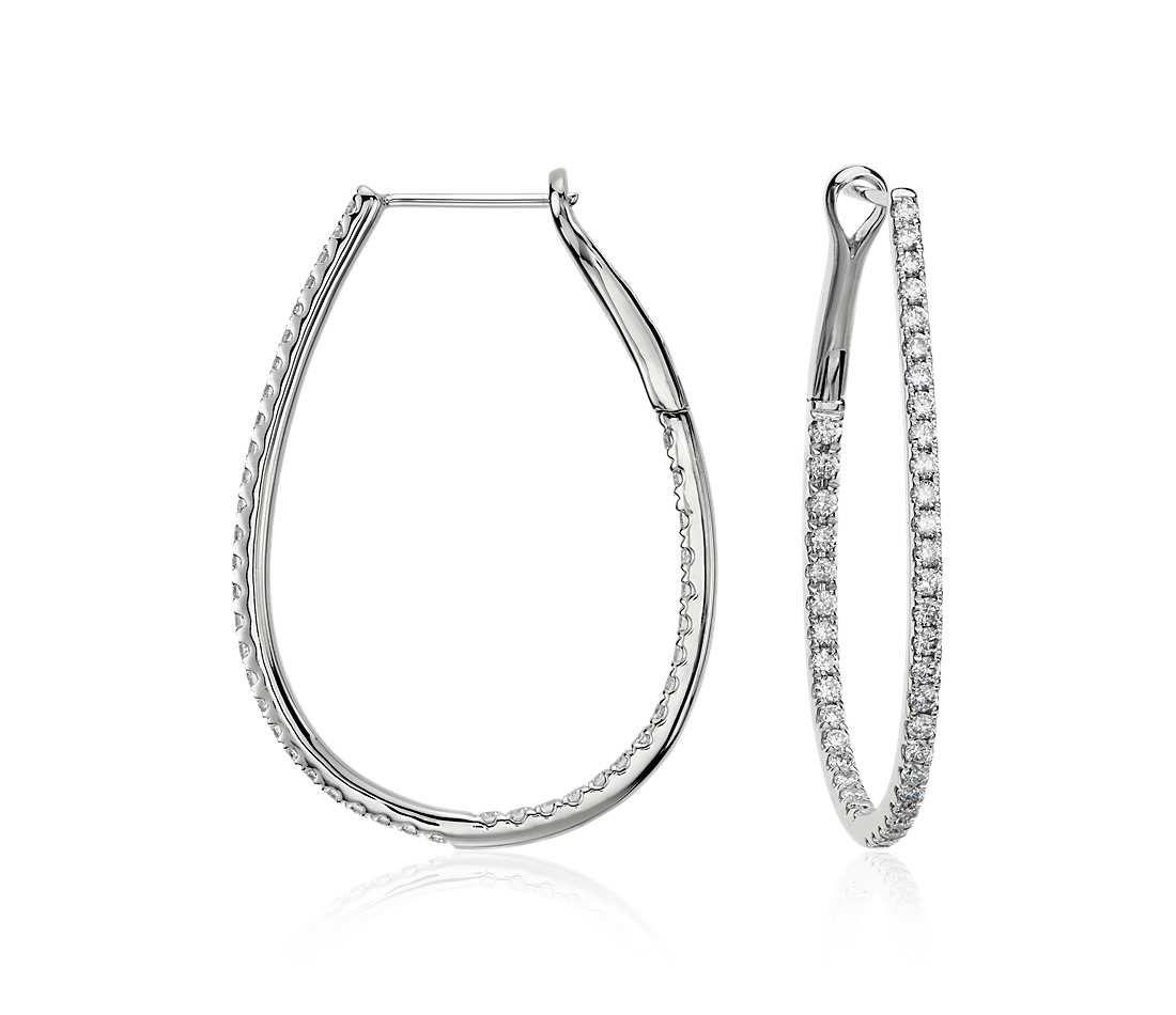 Long Diamond Hoop Earrings in 14k White Gold (1 ct. tw.)   Jewelry ...