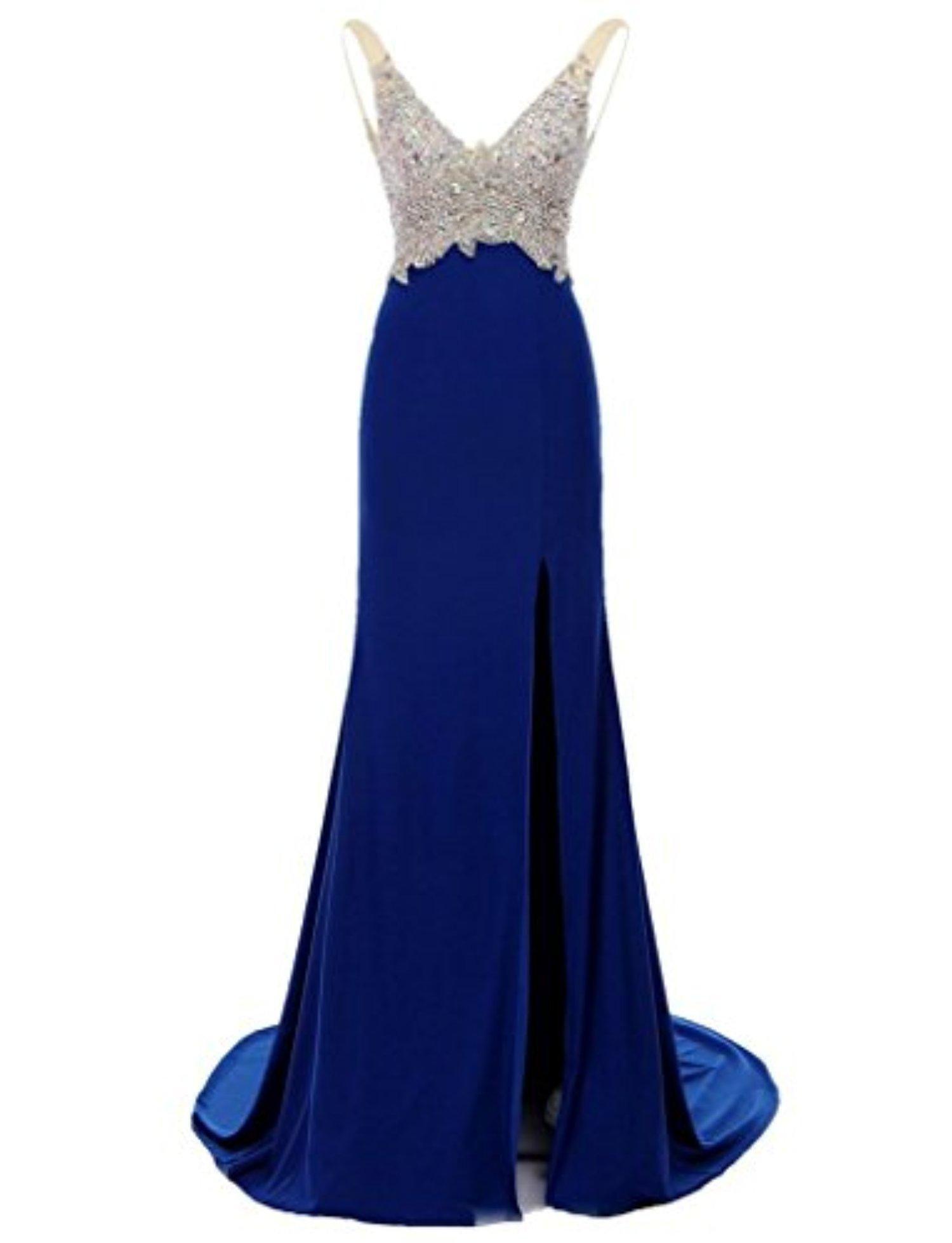 Elinadress mermaid vneck crystal beading long prom dress with slit