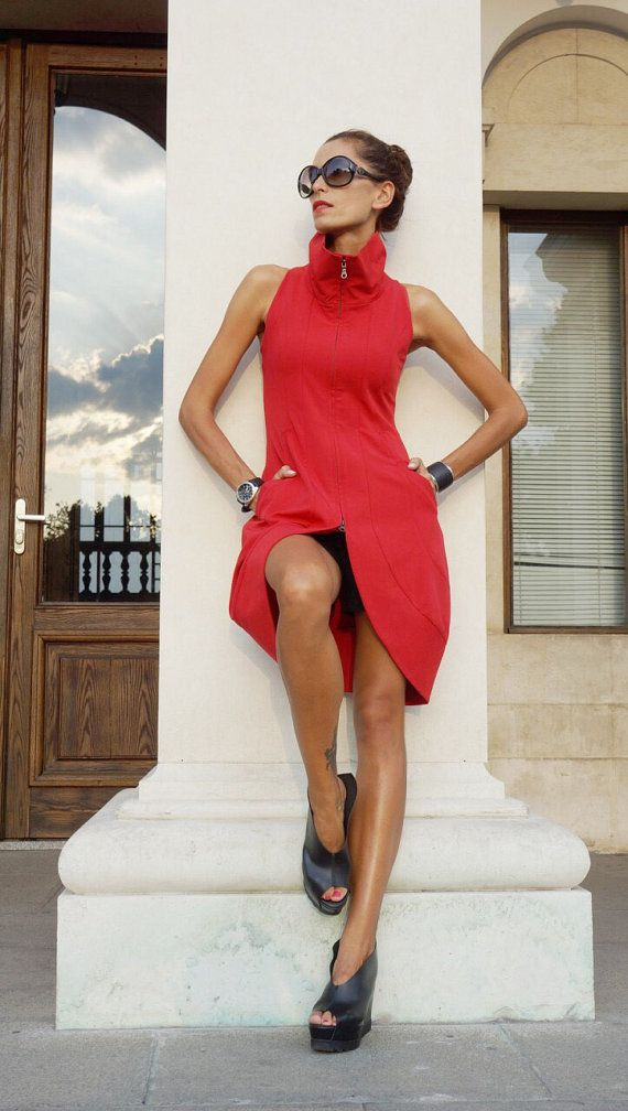 New 2016 Autumn Sexy Dress / Red Polyviscose Dress by Aakasha