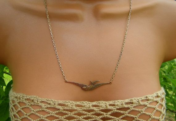Antiqued Raw Brass Bird Necklace Patinaed Brass by cuppacoffee, $17.00