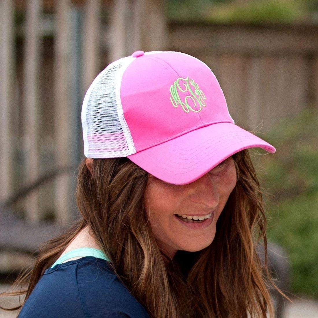 ad06cfcd21ae5 Hot Pink Trucker Hat | Monogrammed Products | Monogram hats, Hats ...