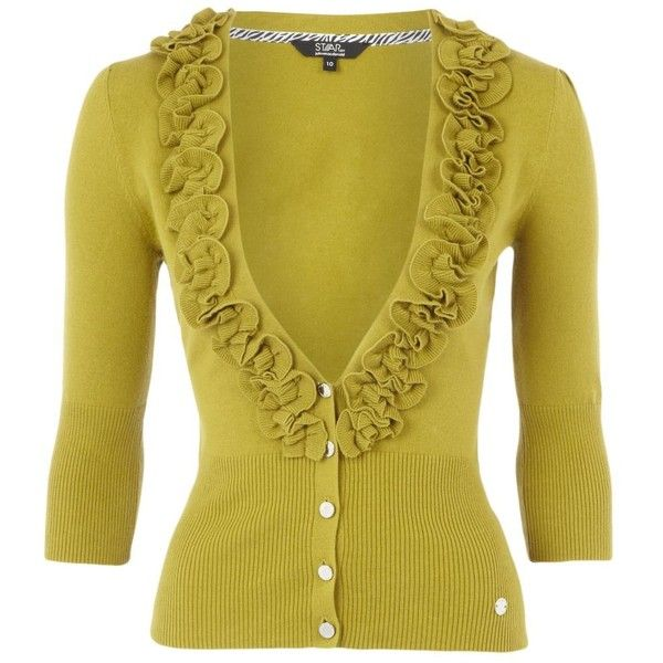 Lime green ruffle front cardigan ($29) ❤ liked on Polyvore ...