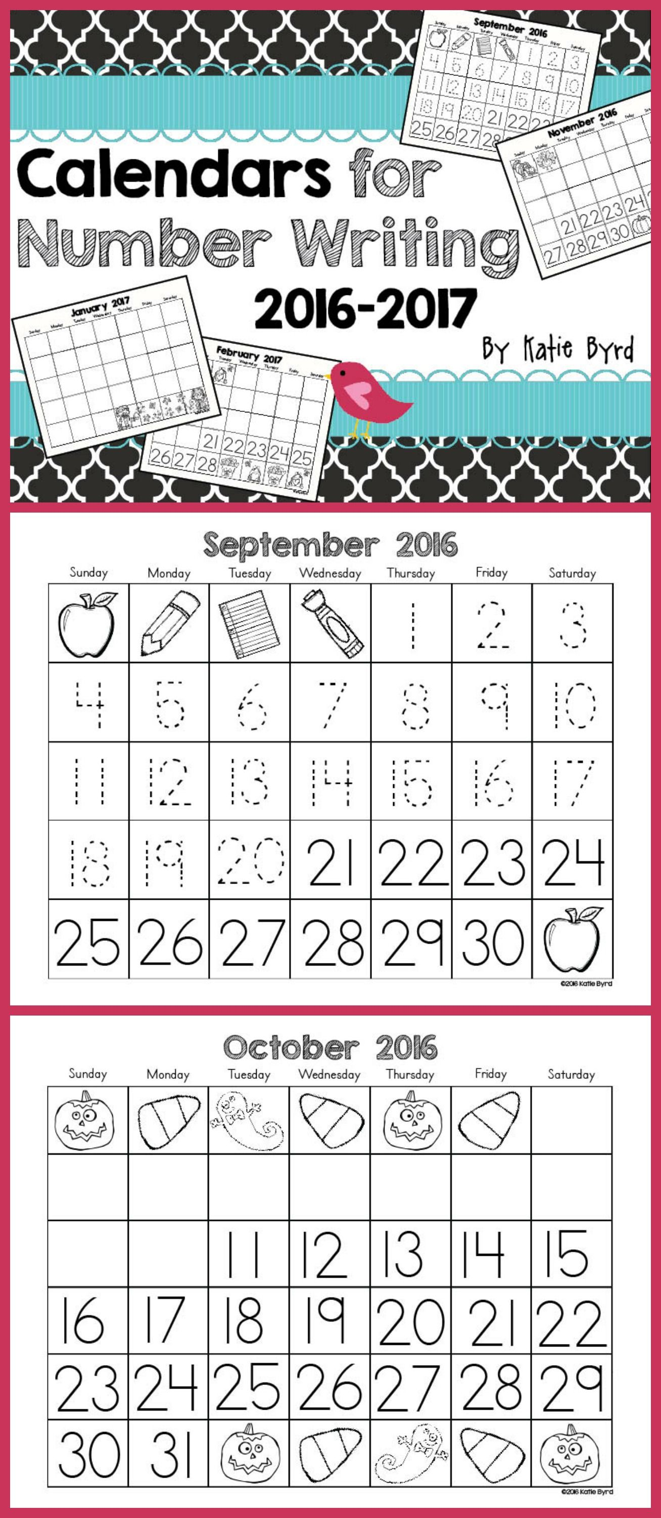 Calendars For Number Writing