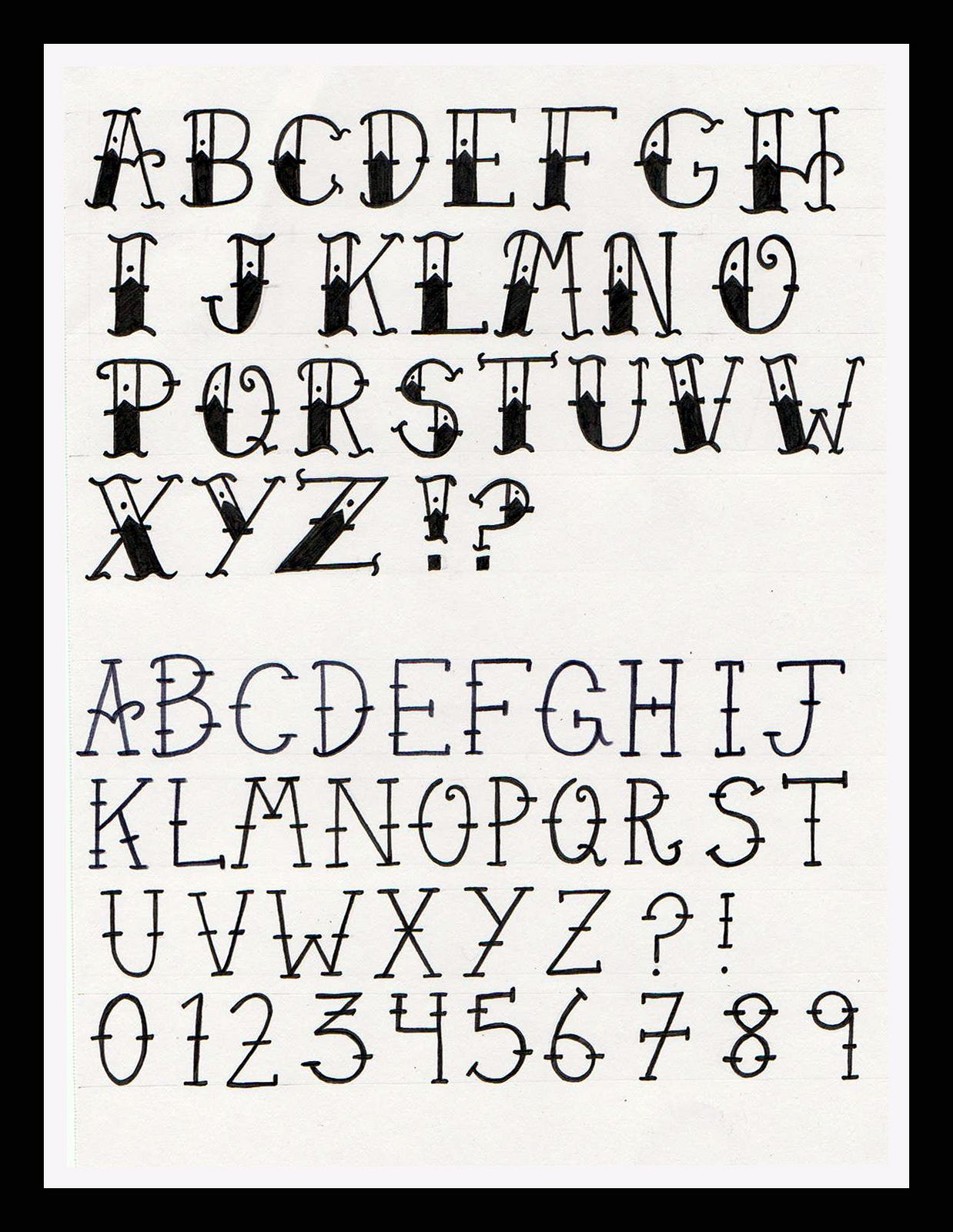 Old School Tattoo Alphabet Tattoo alphabet, Lettering