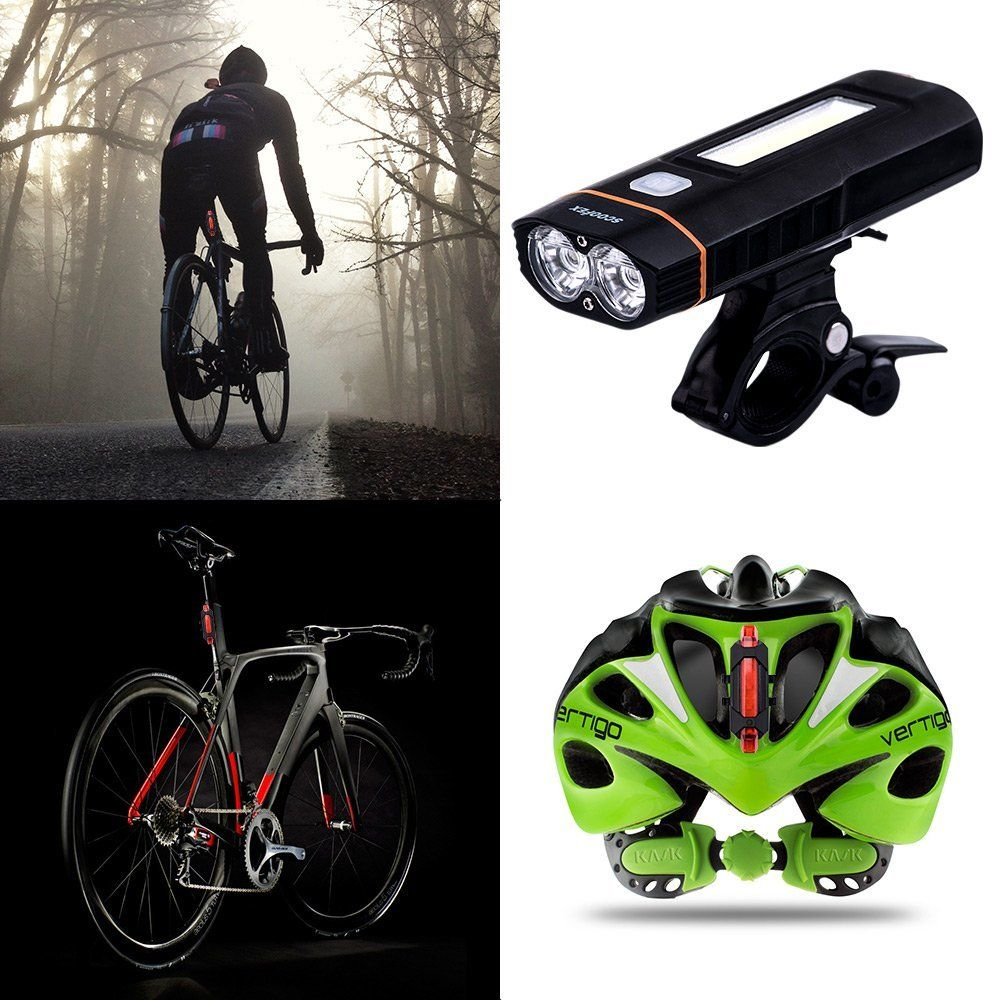 LED Lights Bike Bicycle USB Rechargeable Set Mountain Cycle Front Back Headlight