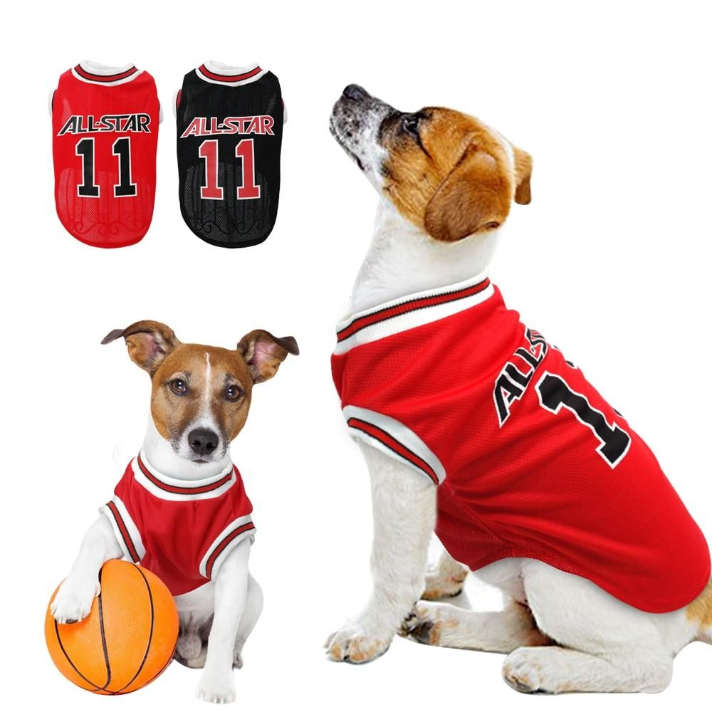 Breathable Cotten Dog Clothes Soft Puppy Basketball Tshirt Vest Summer Shirt Apparel Pet Clothing Small Medium Dogs Cats Puppy Clothes Dog Clothes Pet Clothes