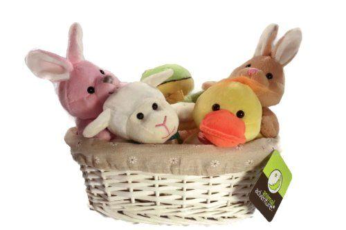 Amazon.com: Animal Adventure White Decorator Basket and 5 Plush Stuffed Animals: Toys & Games