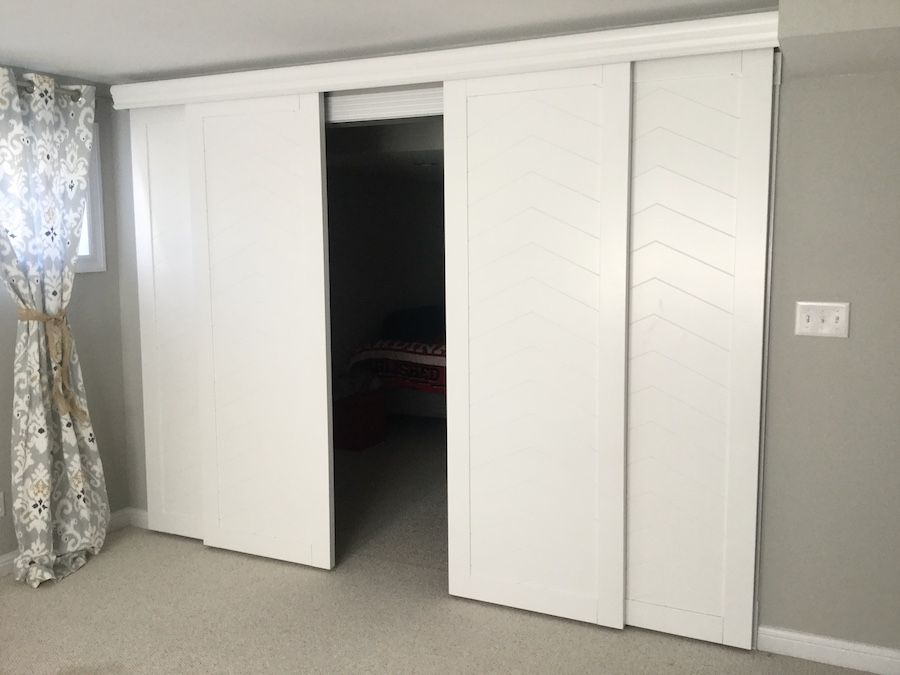 Bypass Sliding Barn Doors With Wood Valance To Cover A Closet Rather Than Bifold Closet Doors Fro Bifold Closet Doors Interior Barn Doors Wood Doors Interior