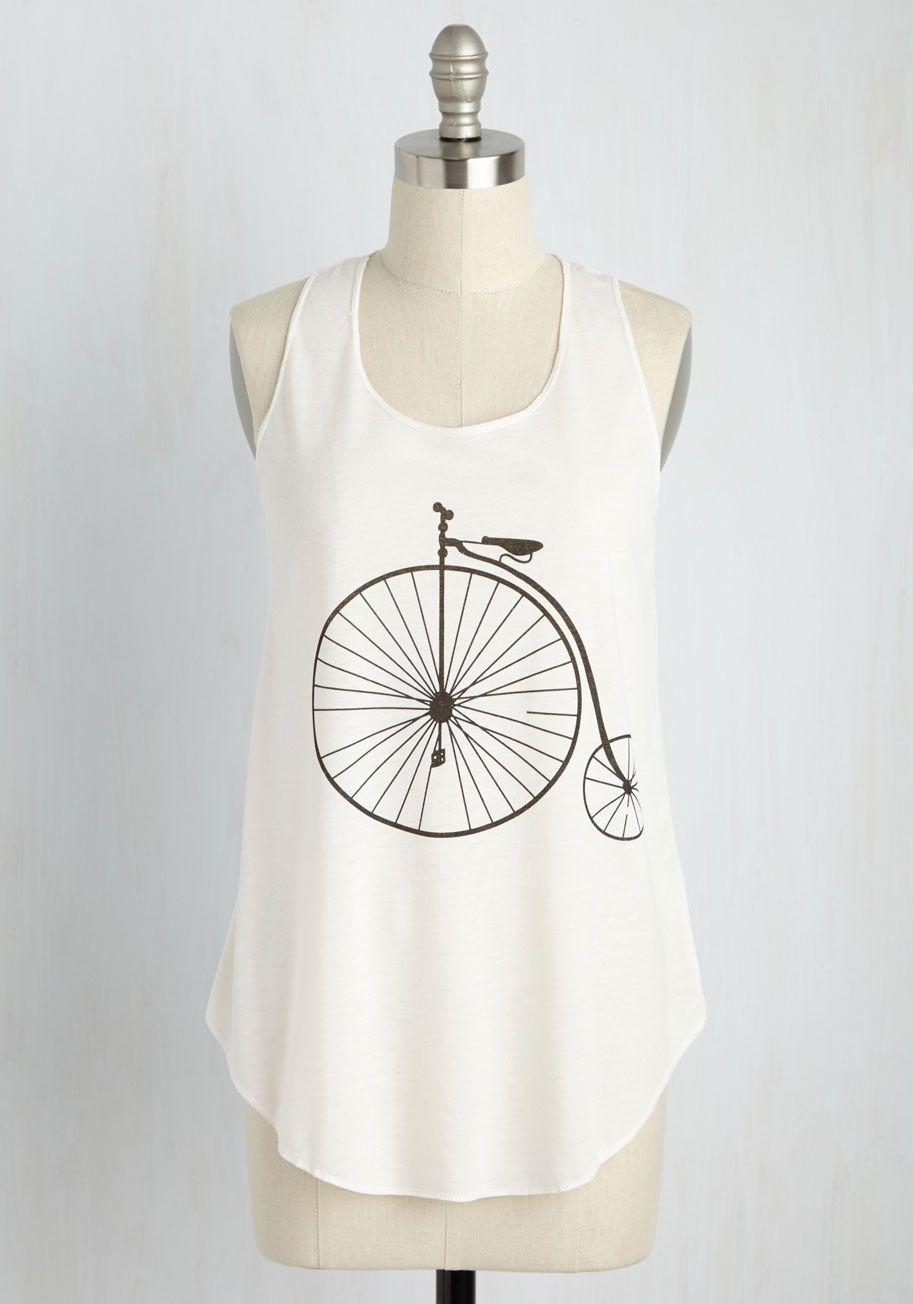cafd9d870 Hello on Wheels Top. Much like a ride on your fixie, this fun graphic tank  motivates you to wave at every passerby! #white #modcloth