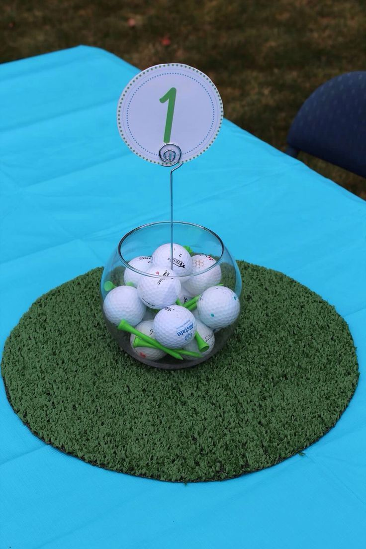Golf theme centerpiece dad 39 s party pinterest jagger for Golf centerpiece ideas