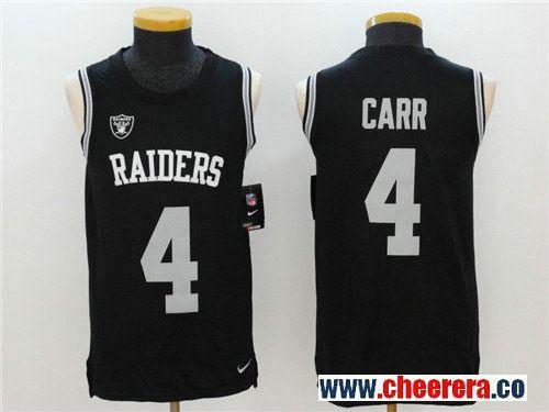 New Men's Oakland Raiders #4 Derek Carr Black Color Rush 2017 Vest