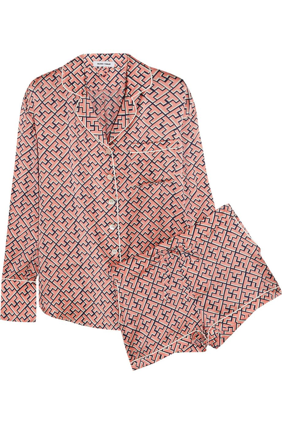 Olivia von Halle   Alba Mizuki printed silk-satin pajama set   NET-A