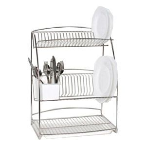 Delfinware Stainless Steel 3 Tier Plate Rack Back Is Curved And