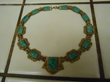 ART DECO CZECHOSLOVAKIAN JADE GLASS WITH FILIGREE NECKLACE 16 INCHES