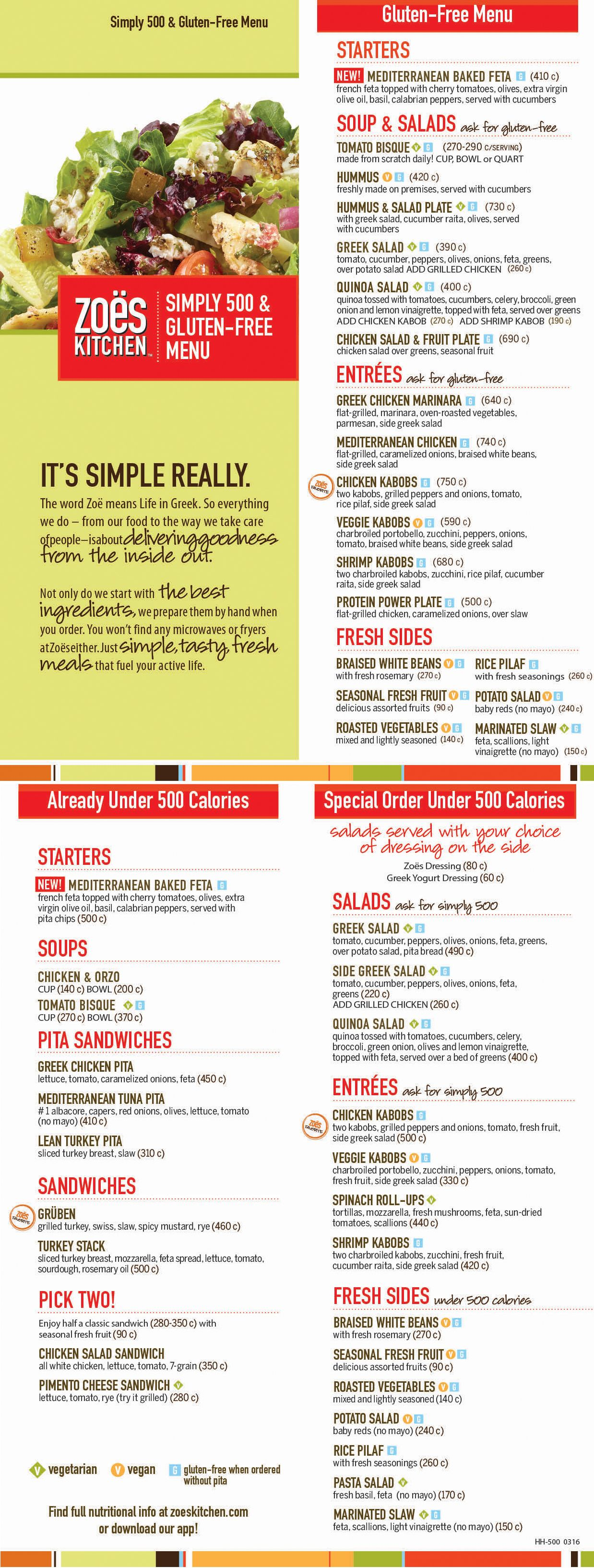 Zoes Kitchen - mediterranean gluten free and under 500 calories menu ...