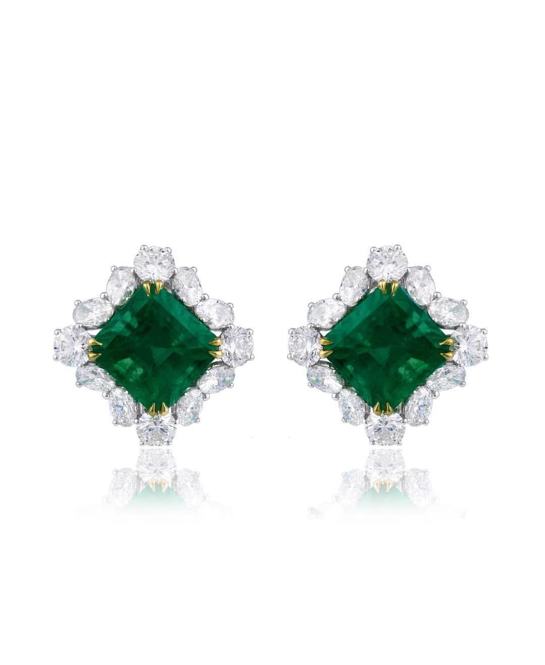 67404240f Joseph Gad Emeralds. Minor Oil Colombian Emerald & Round Diamond Earrings.  #BestEmeraldsInTheWorld #FineJewellery #FineGems