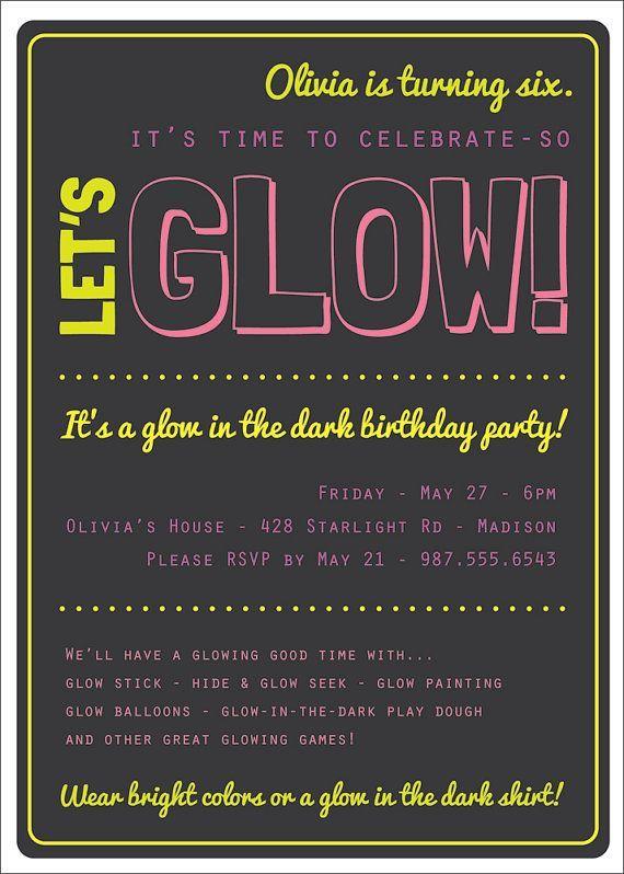 Glow In The Dark Theme Birthday Party Invitation Custom Printable