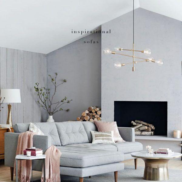 Wohnzimmer einrichten Wohnzimmer gestalten graues Sofa Rosa - wohnzimmer einrichten ideen