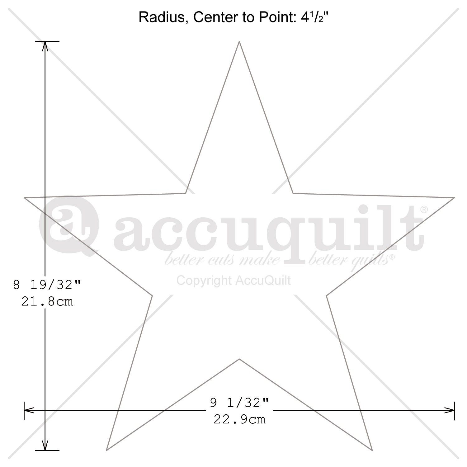 five point star quilt pattern | GO! Star 5-Point - measurement ...