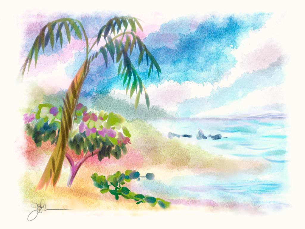 This One Is Done Digitally But I Think The Brush Strokes Are Excellent To Copy Simple Watercolor PaintingsEasy