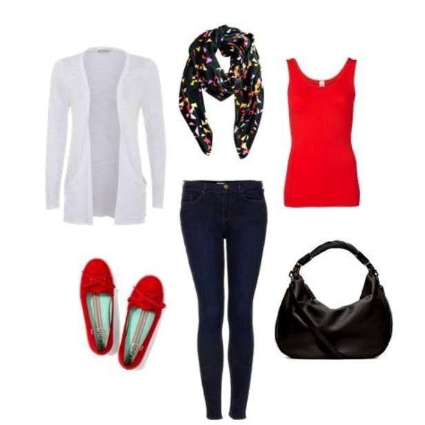 Red top+dark skinny jeans+red ballerinas+black hobo bag+white cardigan. Spring/Summer outfit 2016