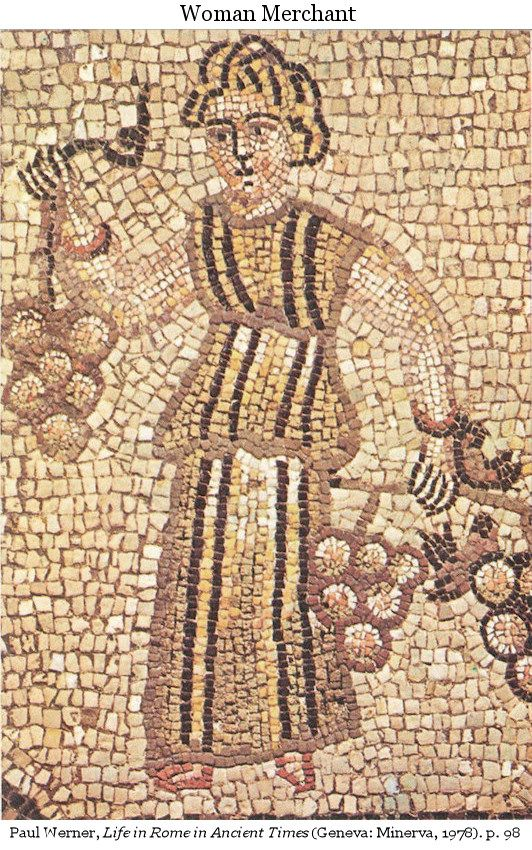 Roman mosaic of a merchant woman in a toga with clavi down the front