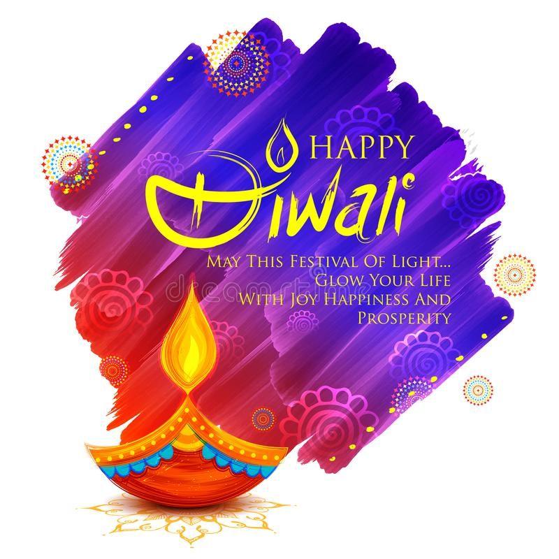 Burning diya on Happy Diwali Holiday background for light