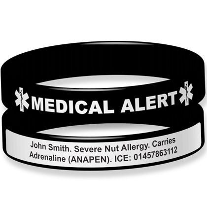 Silicone Medical Alert Bracelet Outside Engraving The Id Band Company Personalised Customised Women Mens