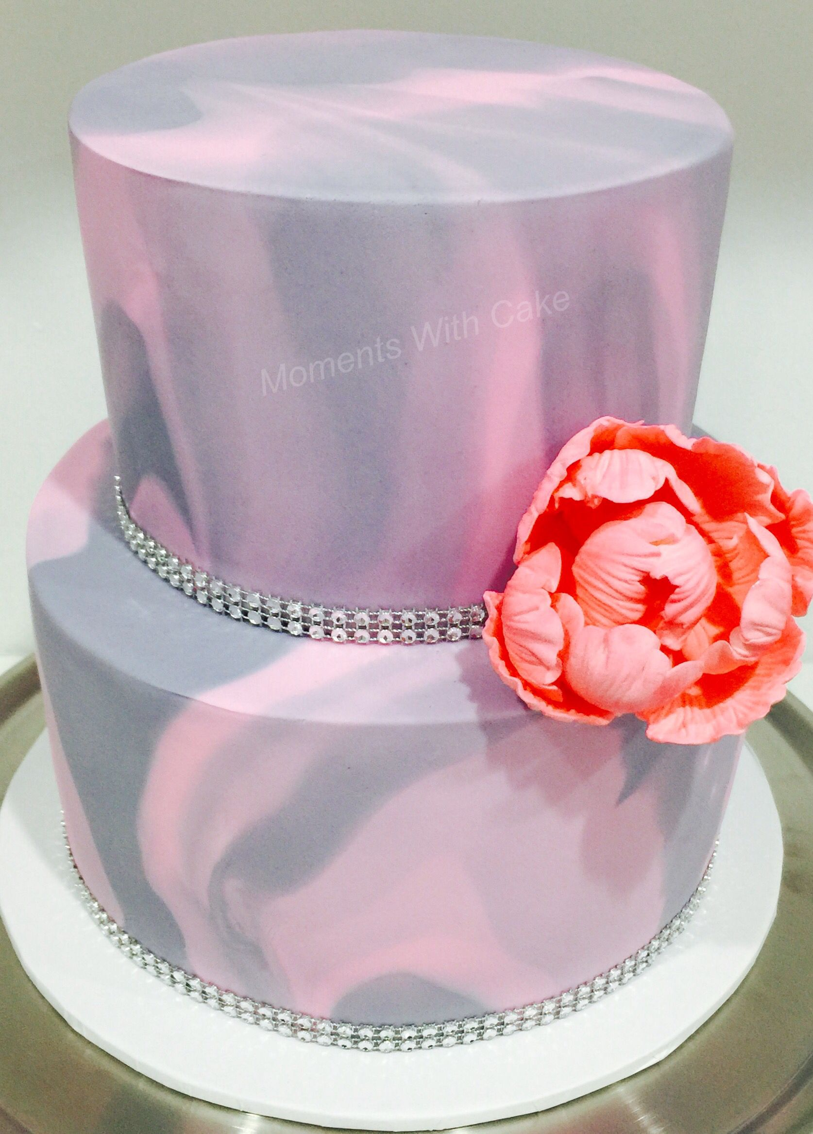 Light Pink And Grey Marble Fondant Wedding Cake