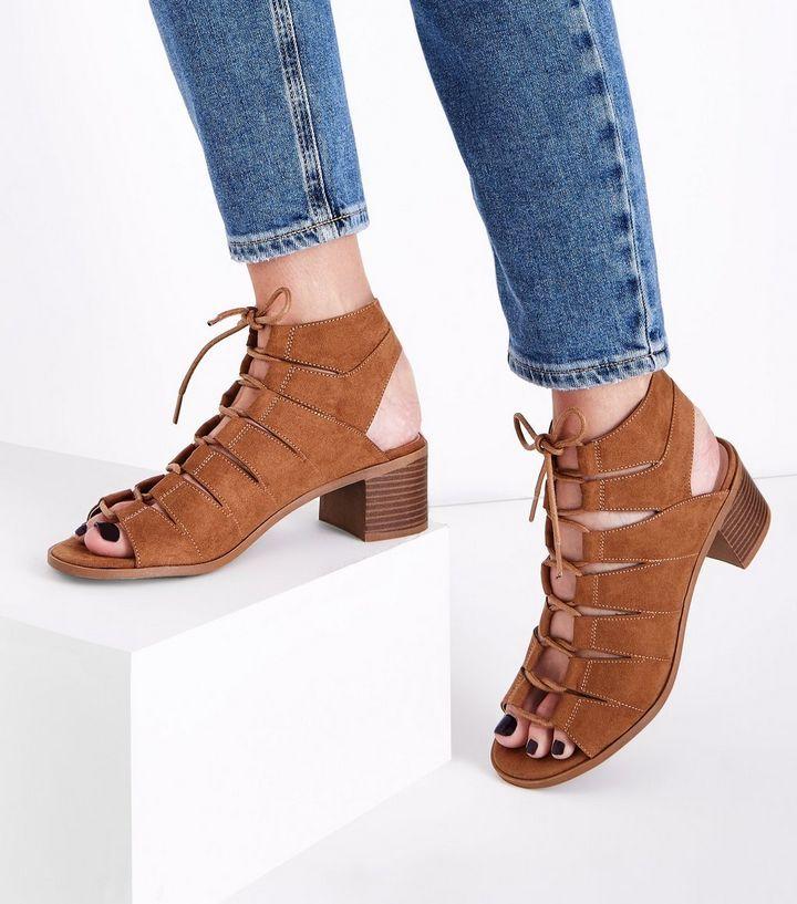 8dc996a224c5 Tan Suedette Low Block Heel Ghillie Sandals