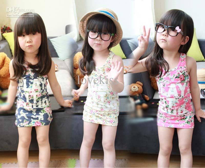 Kids Summer Dress Girls Cute Flower Dresses Child Clothes Long ...