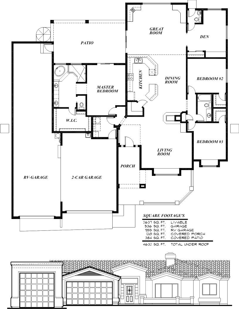 Sunset homes of arizona home floor plans custom home for 2 bedroom house plans with attached garage