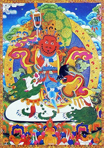 DollsofIndia Vaishravana  The Buddhist Lord of Wealth Riding Lion  Thangka Poster  17 x 12 inches  Unframed ** Find out more about the great product at the image link.