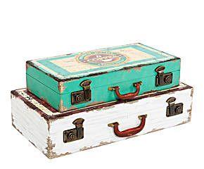 Set de 2 cajas de madera y metal maleta blanca y azul for Cajas de madera blancas