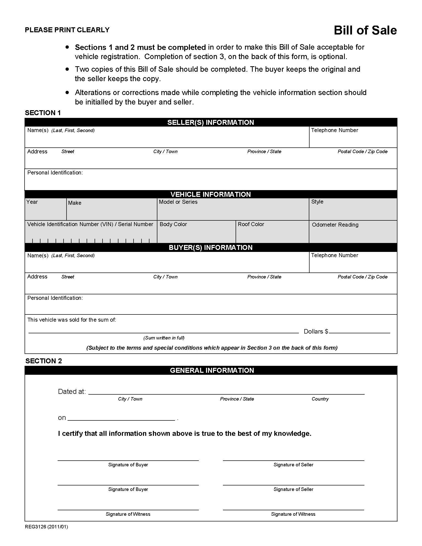Alberta Bill Of Sale For Vehicle Bill Of Sale Template Legal Forms Real Estate Forms